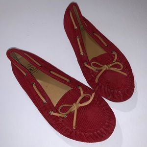 Lucky Brand Red Corduroy Moccasins Loafers 10 10B